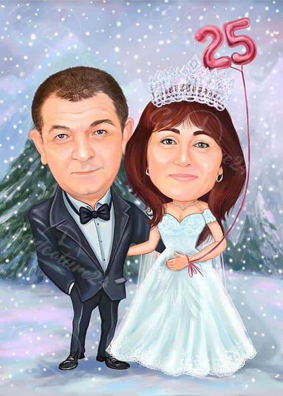 25th Anniversary Gift Caricature in Winter
