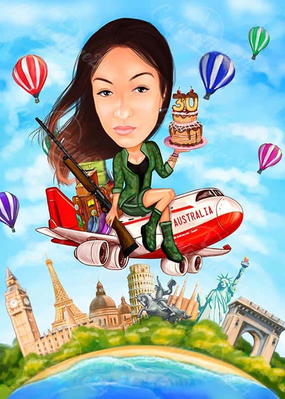 30th Birthday Travel Caricature for Her