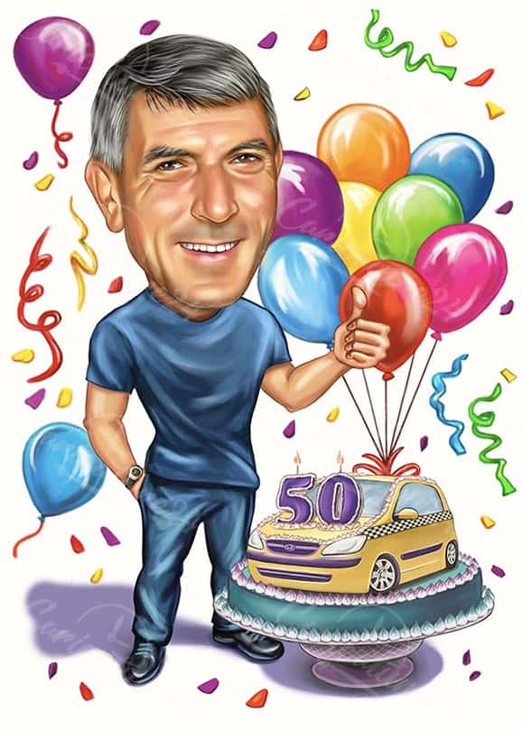 50th Birthday Caricature Drawing for Taxi Driver