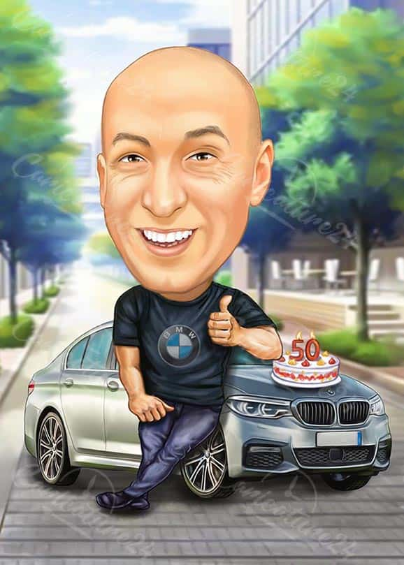 50th Birthday Caricature for Him