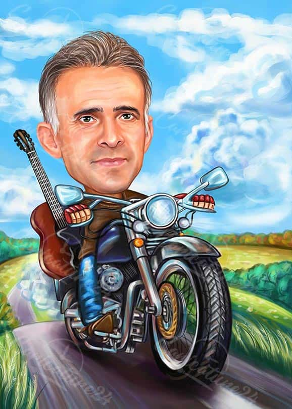 American Guitarist on a Motocycle Caricature