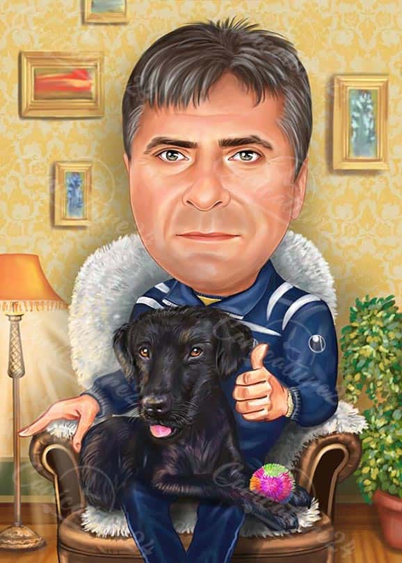 Army General Caricature with Dog