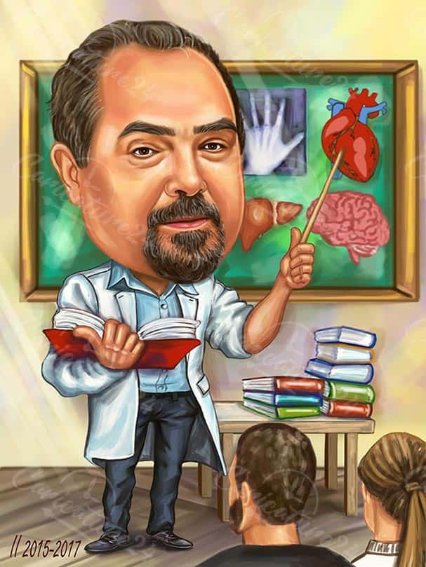 Biology Male Teacher Caricature Drawing