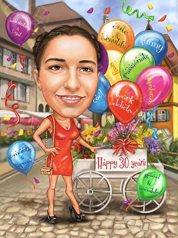 Birthday Caricature with Baloons