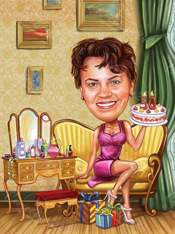 Birthday Gift Caricature for 50 years