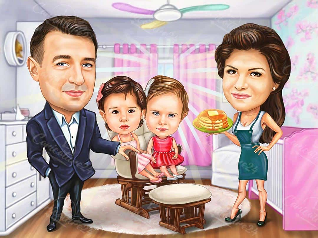 Boss Caricature with Daughters