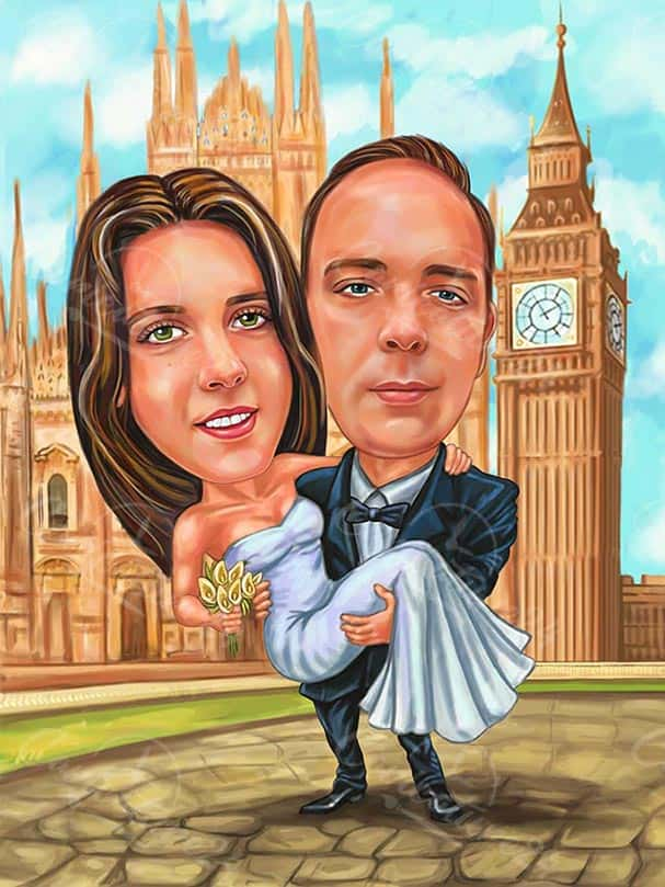 Bride and Groom London Wedding Caricature