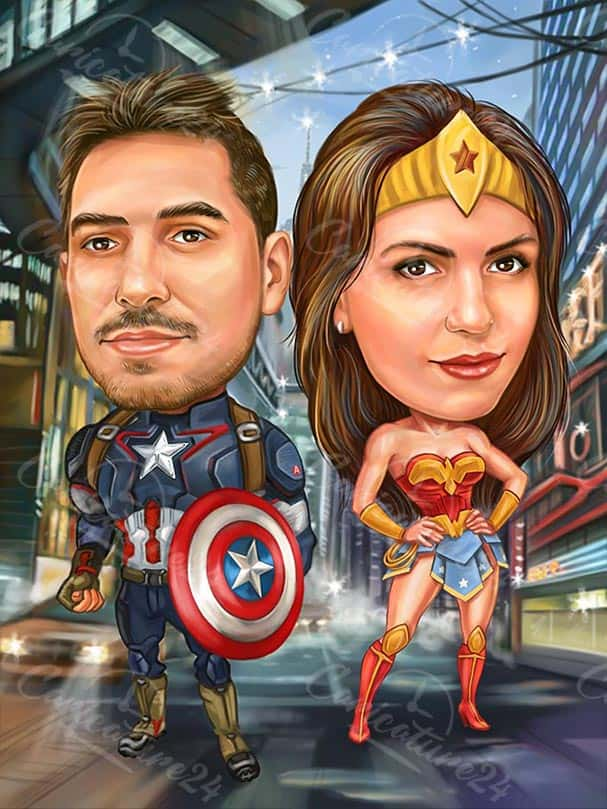 Captain America Caricature with Wonder Woman