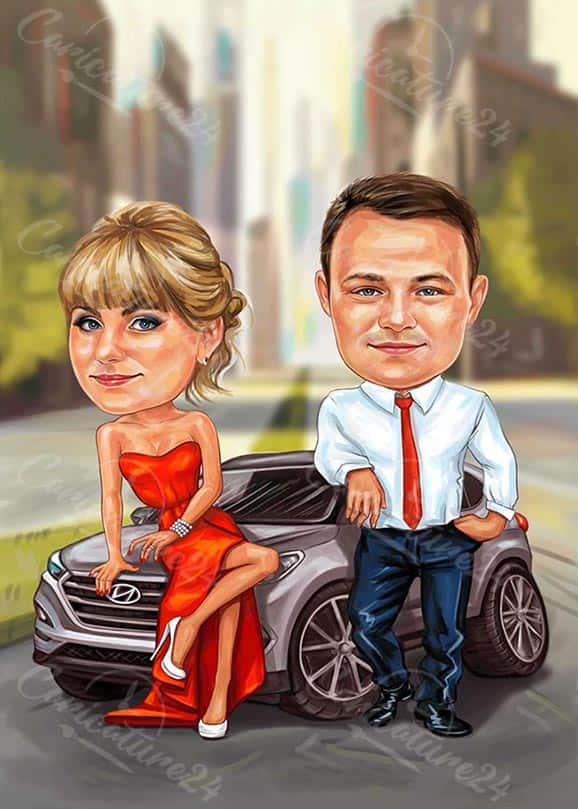 Caricature Couple in a Car