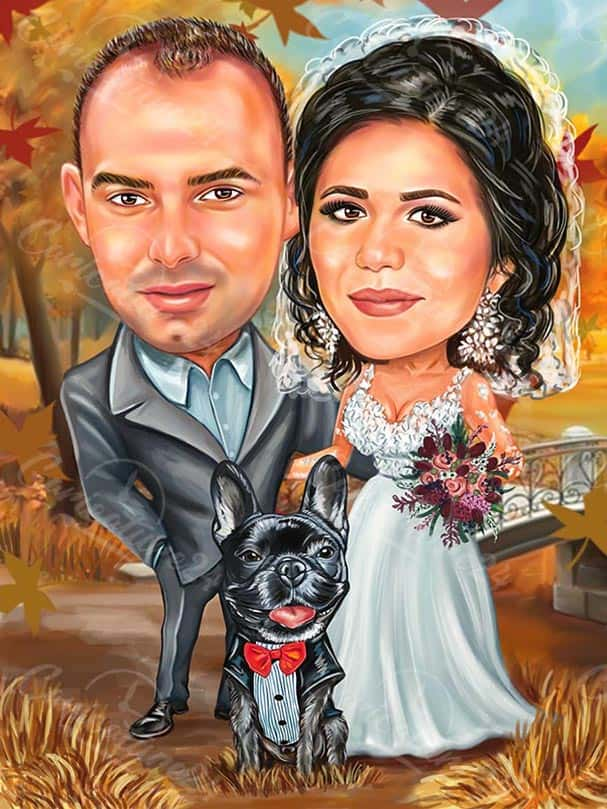 Caricature for Wedding in the Fall Season