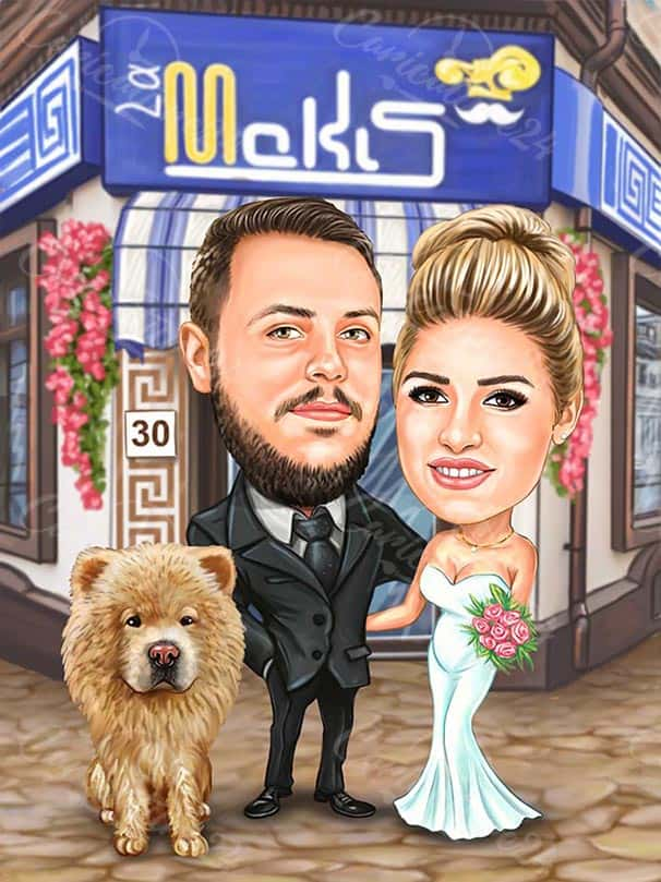 Caricature for Wedding with Dog
