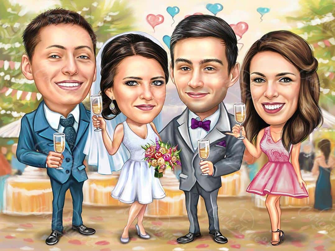 Caricature for Wedding with Maid of Honor and Best Man