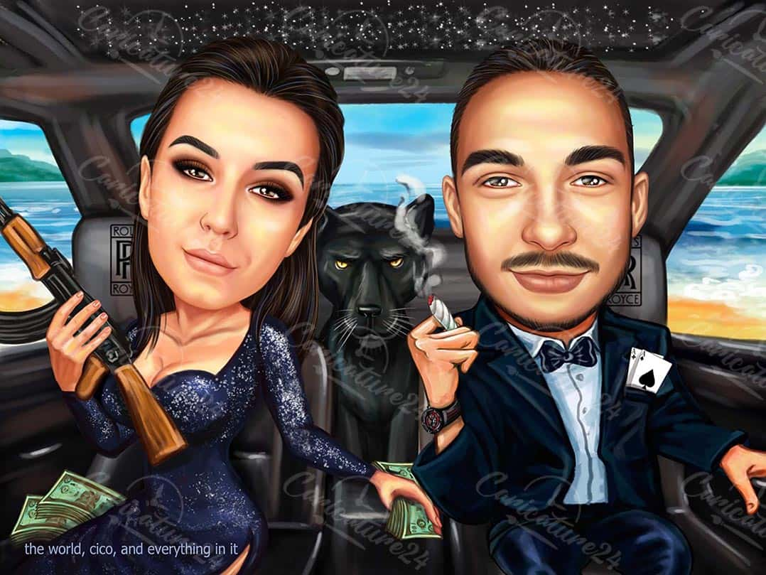 Caricature of a Couple Gangsters