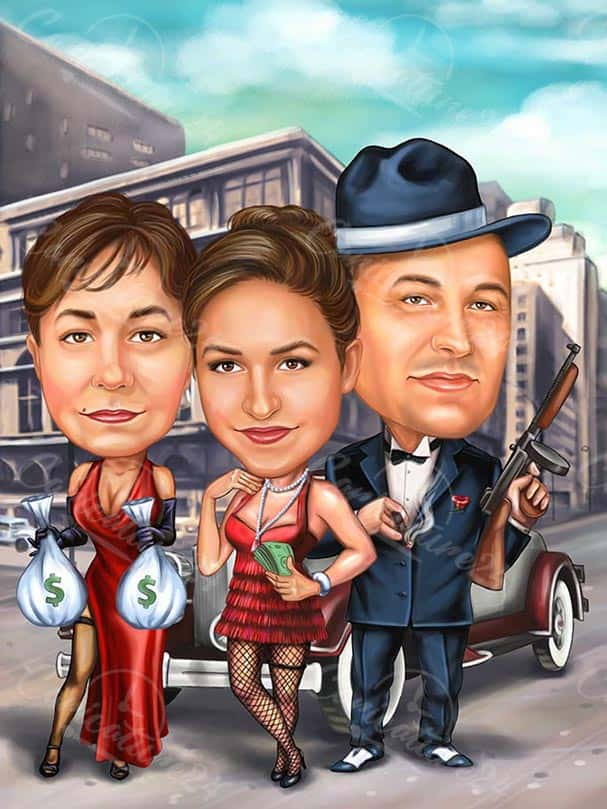 Caricature of a Family Gangsters