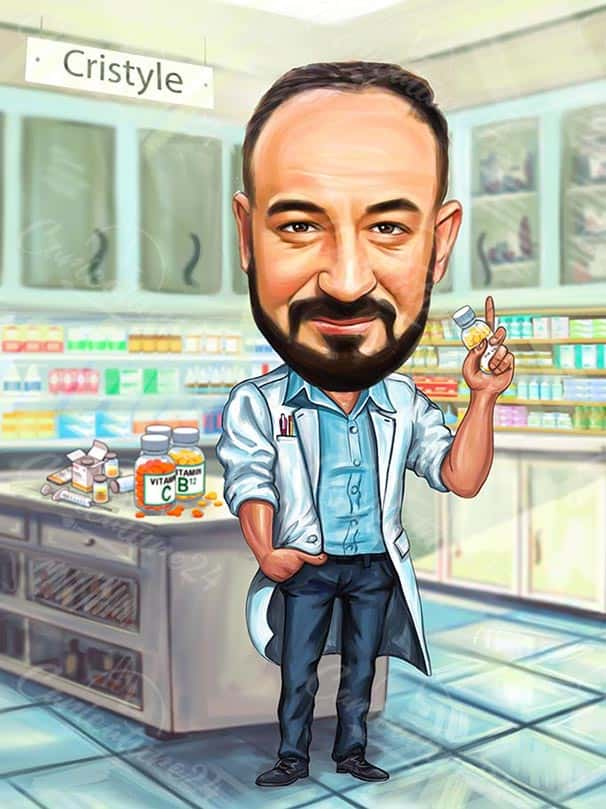 Chemistry Scientist Caricature from Photo