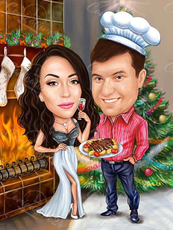 Christmas Caricature Chef and His Girlfriend