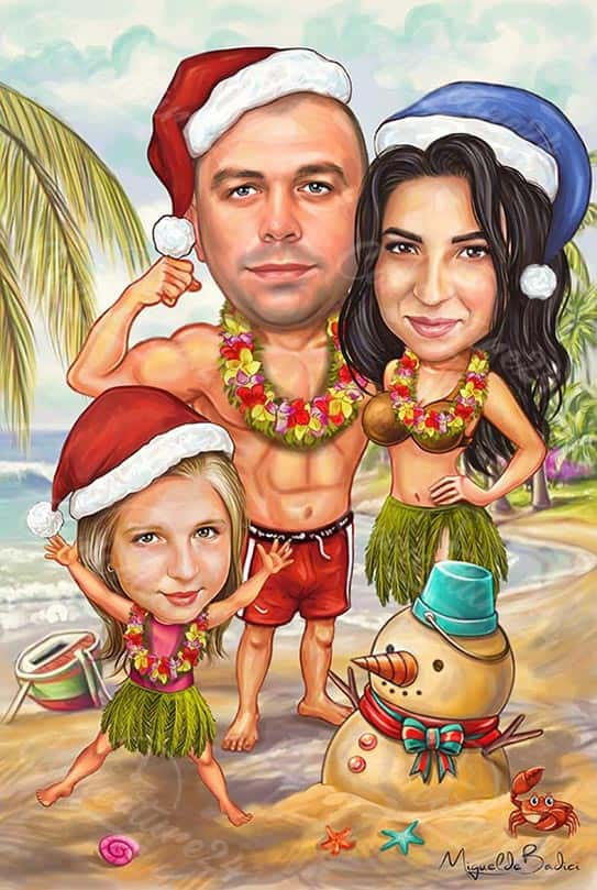 Christmas Caricature in Summer