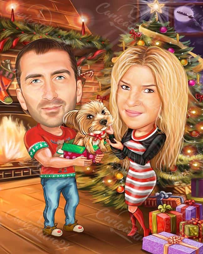 Christmas Caricature with Dog