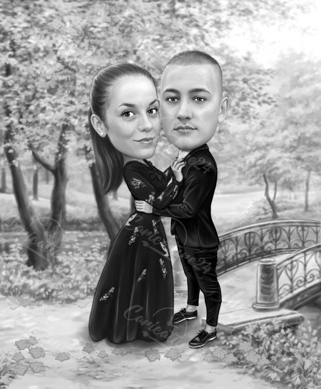 Couple caricature black and white