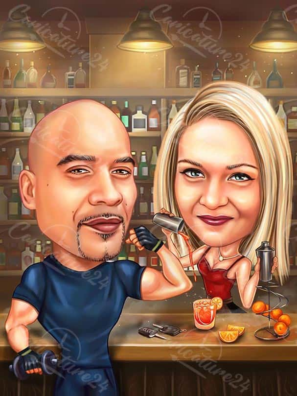 Couple in Bar Caricature