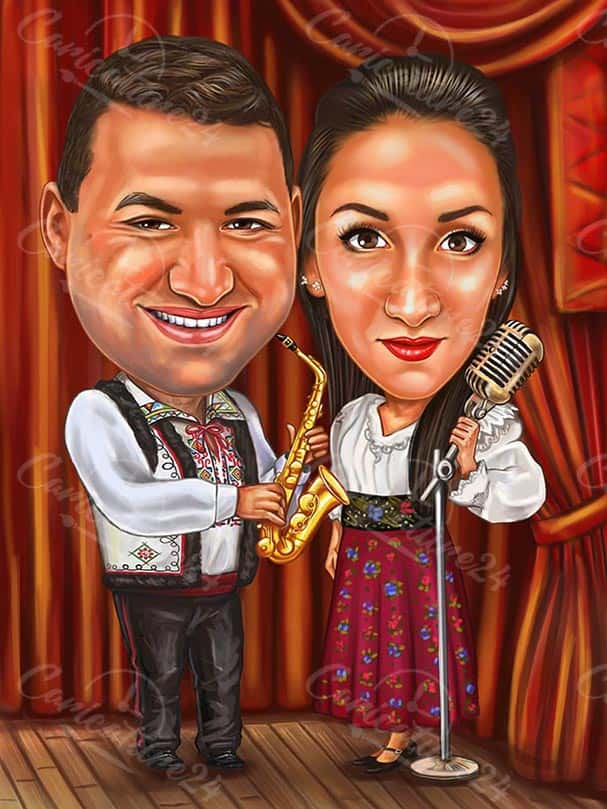 Couple Musicians Caricature