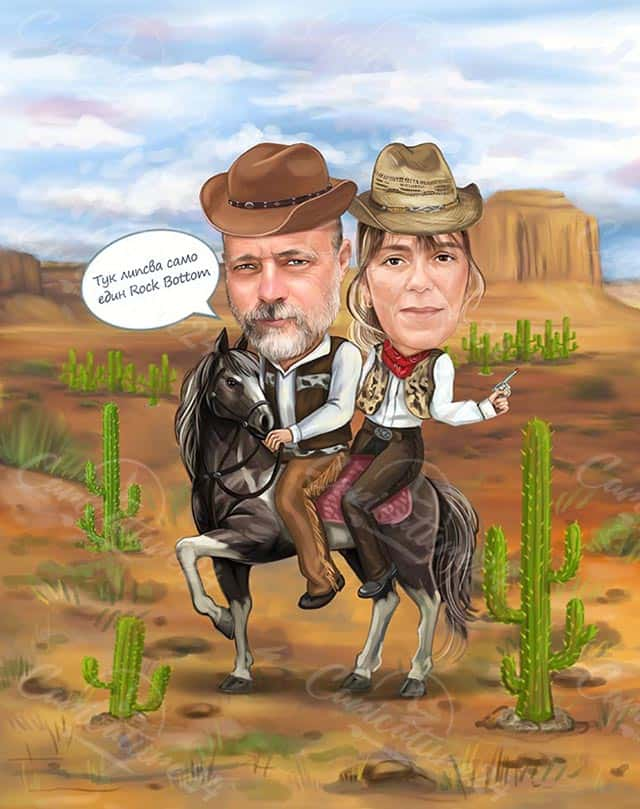 Cowboy & Cowgirl Caricature in the Desert