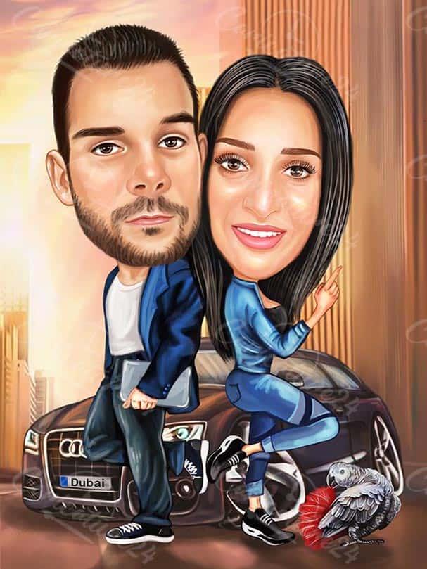 Creative Couple in a Car Caricature