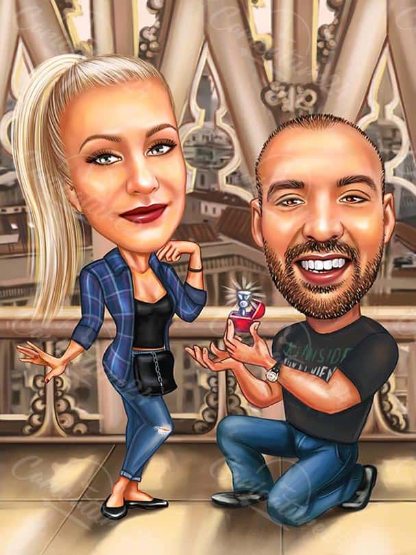 Custom Caricature Drawing with Engagement Ring