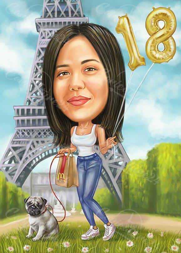 Custom Caricature from Photo for Cute Girl