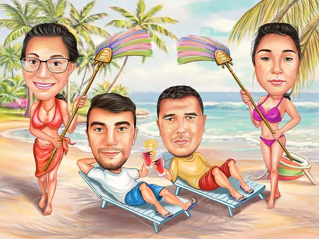 Customized Funny Beach Caricature for Best Friends