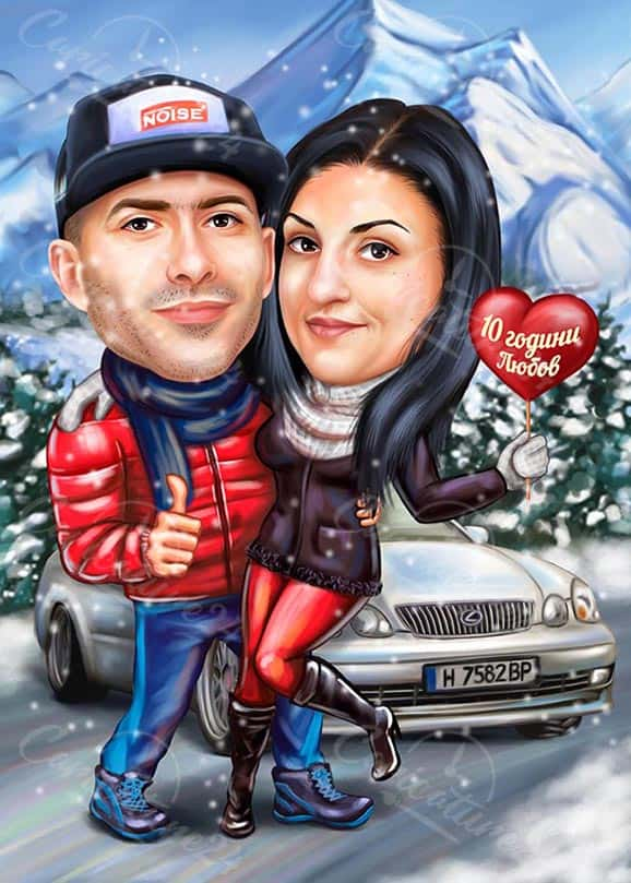 Cute Couple Caricature for Wedding Anniversary Gift