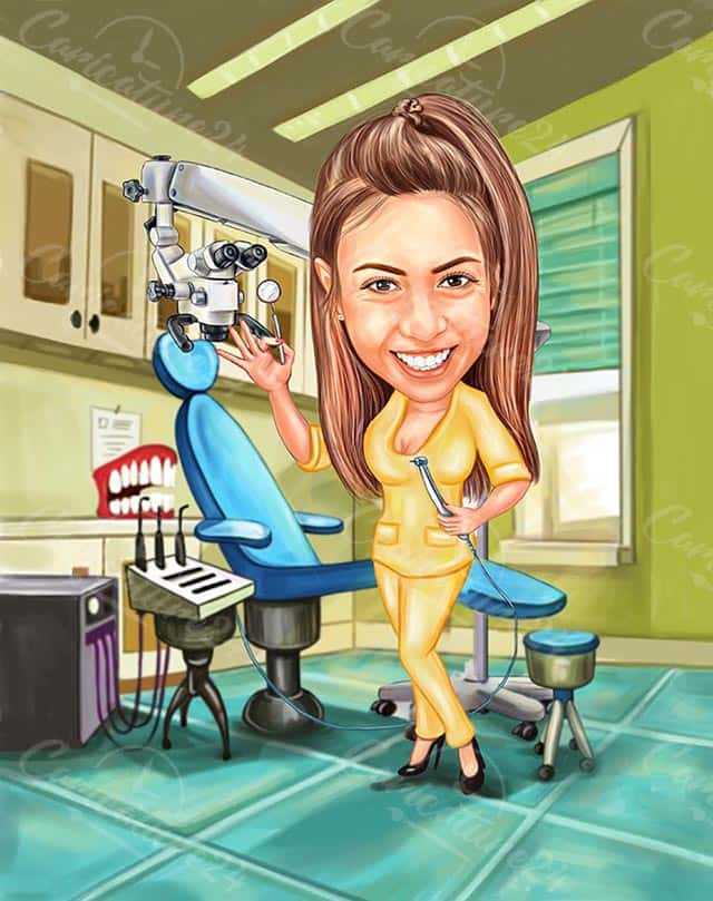 Cute Dentist Caricature from Picture