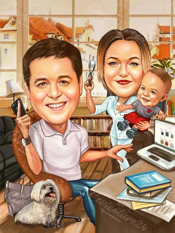Dentist Family Caricature