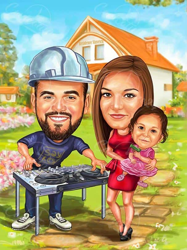 DJ Caricature with His Family