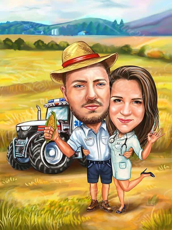 Doctor and Farmer Caricature