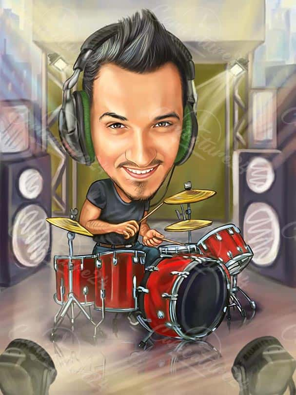 Drummer Caricature from Photo