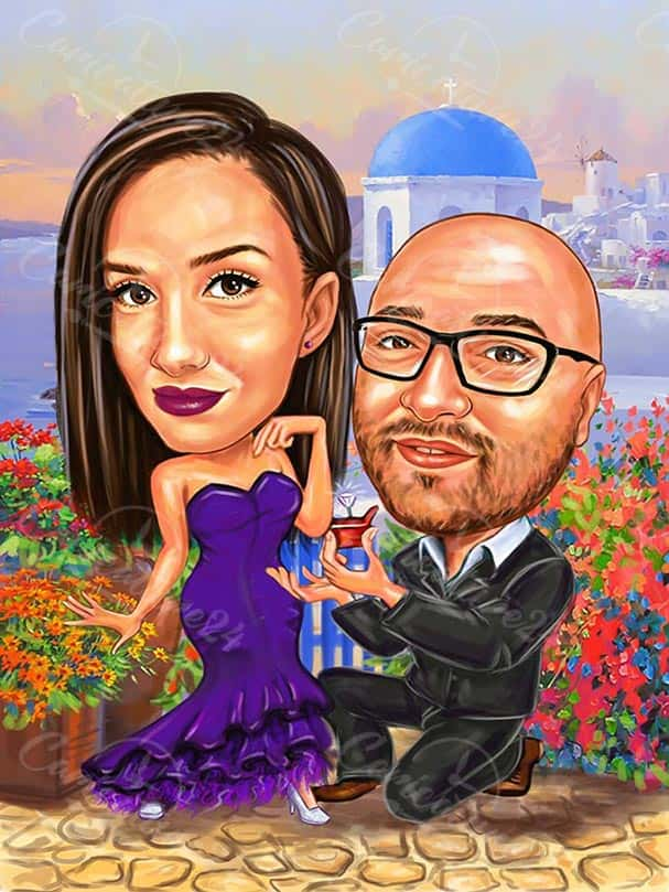 Engagement Caricature Drawing