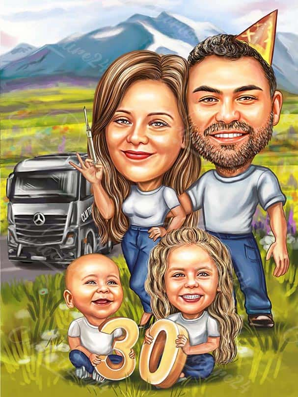 Family Caricature 30th Anniversary Gift