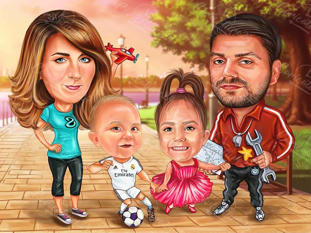 Family Caricature with Children