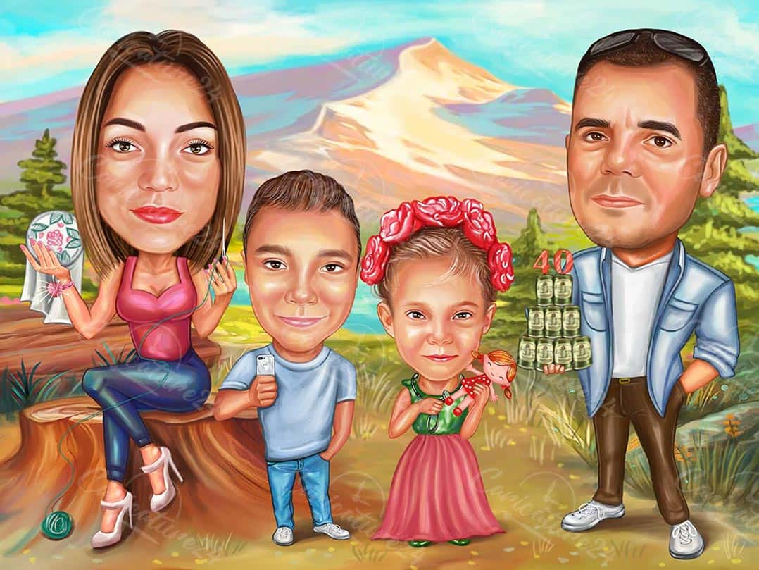 Family in the Nature Caricature