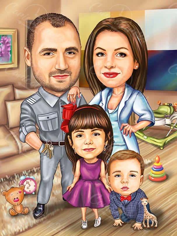 Family Portrait Caricature