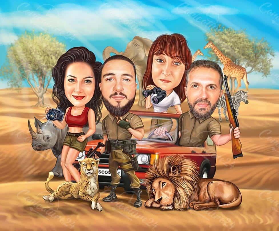Family Safari Caricature for Travelers