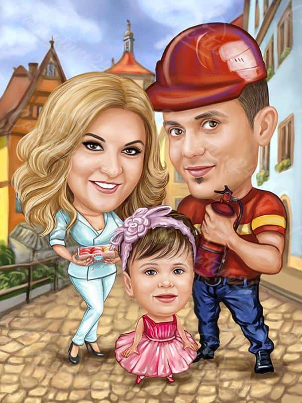 Firefighter Caricature with Family