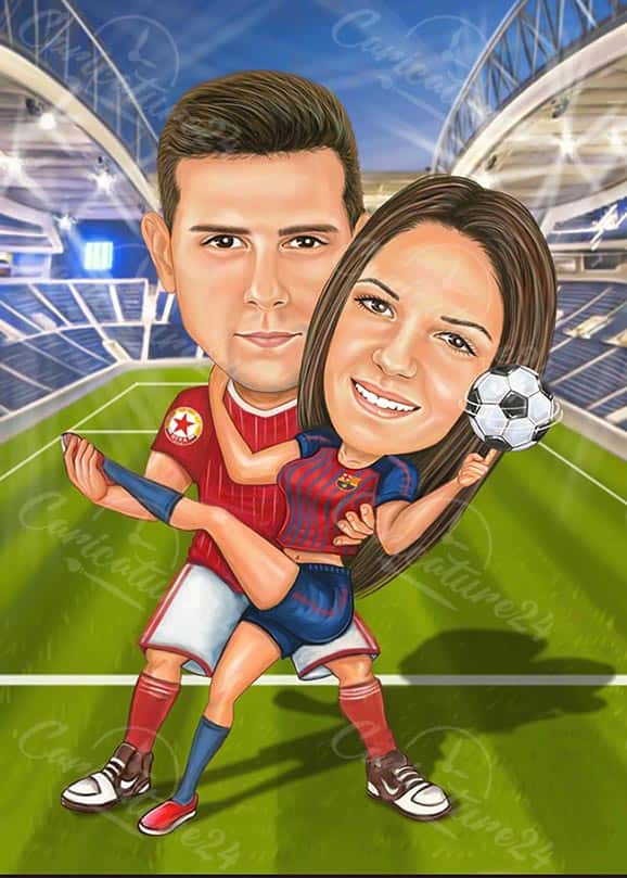 Football Soccer Caricature Drawing for a Couple