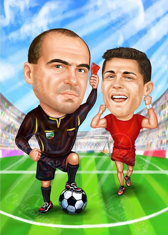 Funny Football Caricature
