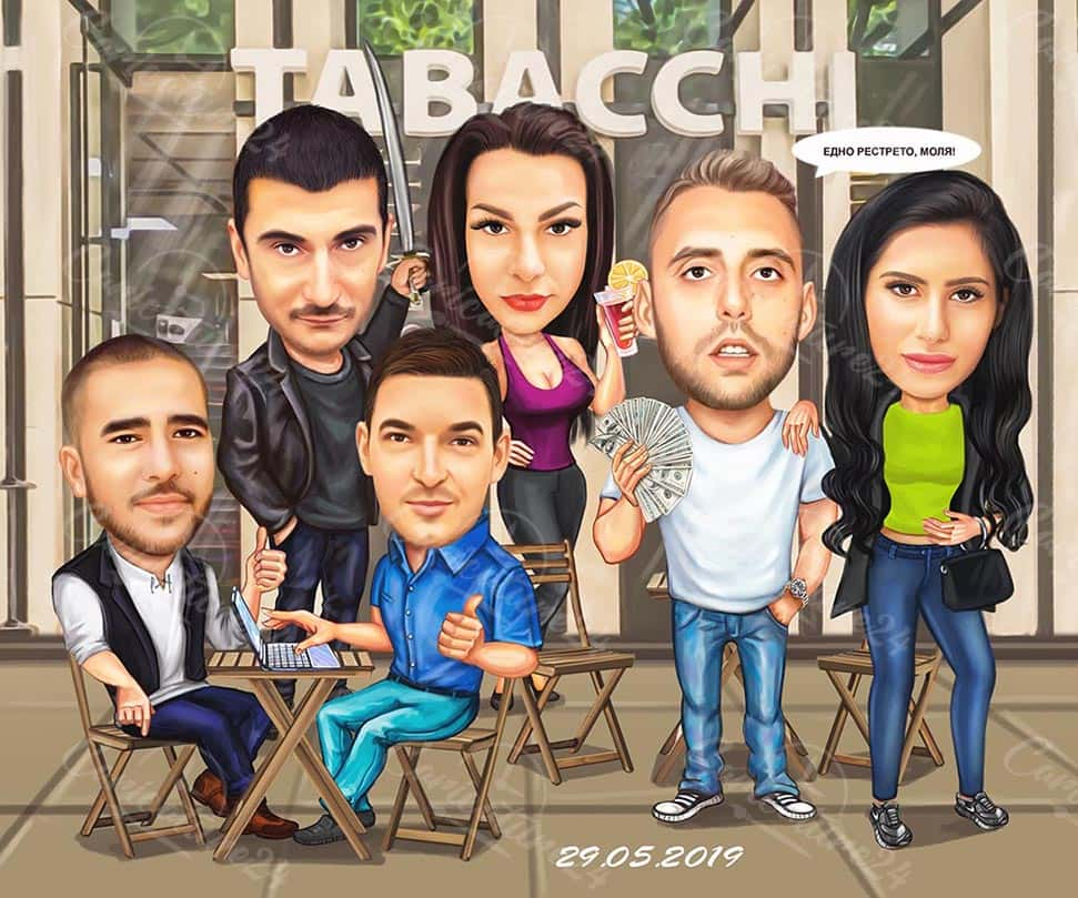 Funny Office Group Caricature