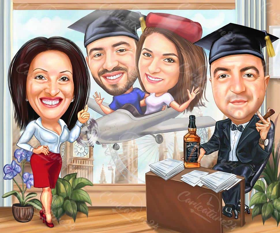 Graduation Group Caricature with Family