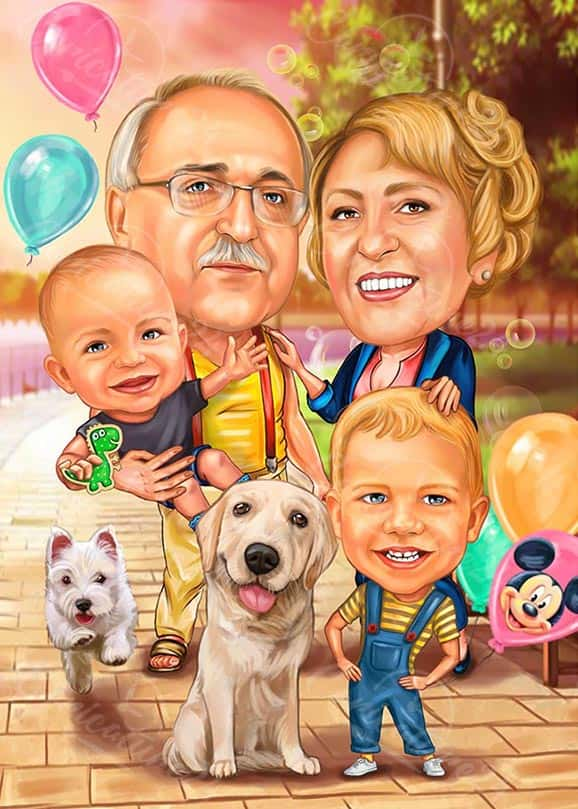 Grandma and Grandpa Caricature