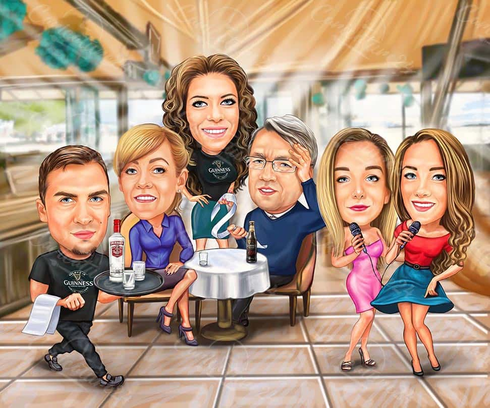 Group Birthday Caricature from Photo