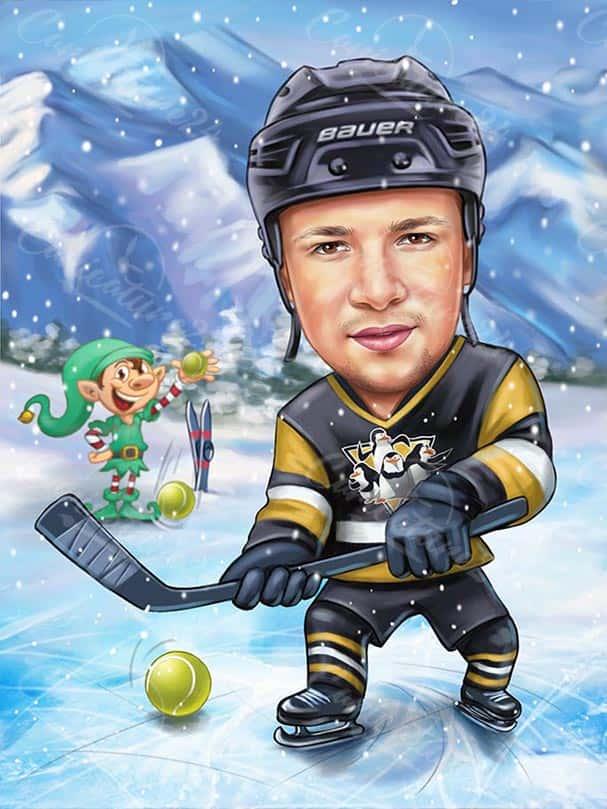Hockey Caricature from Photo
